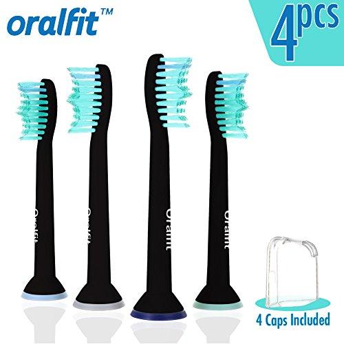 Generic Replacement Toothbrush Heads Philips Sonicare HX6014 HX6013 ProResults Black 4 pcs Fit DiamondClean HealthyWhite EasyClean FlexCare Soft Bristles Gum Plaque Control