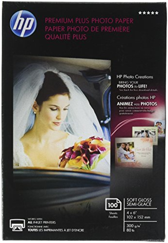 Everyday Semi Gloss Photo Paper - HP Premium Plus Photo Paper, Soft Gloss, 4x6, 100 Sheets (CR666A)