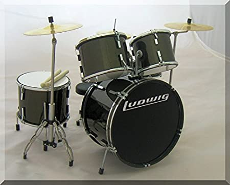 Miniature Drum Kit Set Blue Black Guitar Bass Amplifier Replica for Display Only