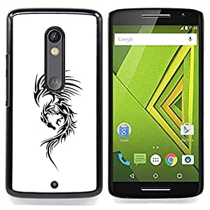 - Dragon White Ink Tattoo Black Decal Ink/ Duro Snap en el tel????fono celular de la cubierta - Cao - For Motorola Verizon DROID MAXX 2 / Moto X Play