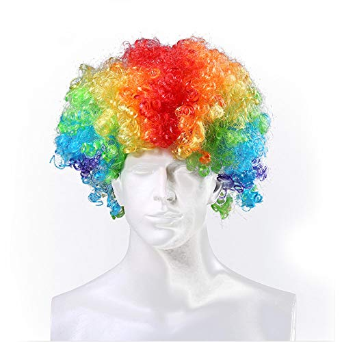 WTSHOP Rainbow Color Afro Wig,Explosion Wig,Hippie Costume Wig,Halloween Costume Party Wig,Both Men and Women are Suitable for Wearing -