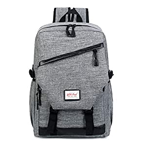 CHENDX Handbags Fashion Casual Men and Women Couple Travel Bag Simple Retro Large Capacity Backpack Student Backpack (Color : Gray, Size : 46cm*30cm*13cm)