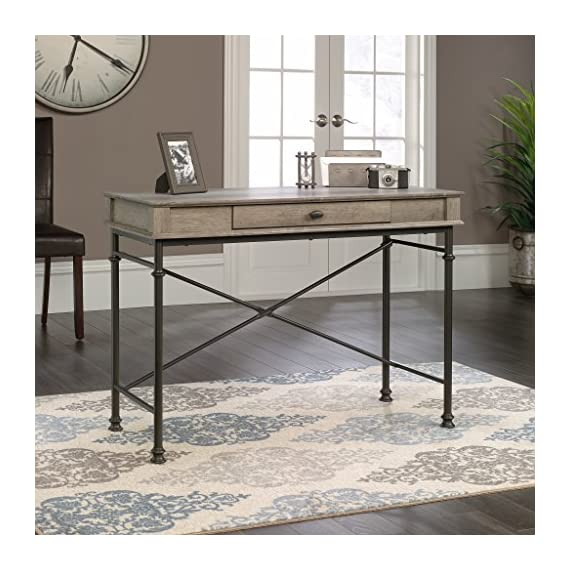 Sauder Canal Street Console Desk, Northern Oak finish - Drawer with flip-down front features full extension slides Finished on all sides for versatile placement Decorative, powder coated metal frame - writing-desks, living-room-furniture, living-room - 51x3wTSOrVL. SS570  -