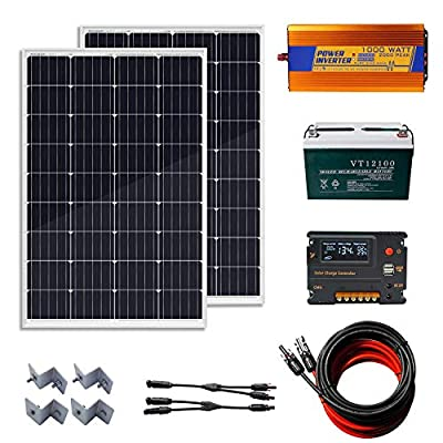 ECO-WORTHY 240 Watt (2pcs 120W) 12V Solar Panel Kit + 100AH AGM Battery+20A Controller Charge Controller + 1000W Off Grid Power Inverter for Home, RV, Snack Cart, Yacht, Boat