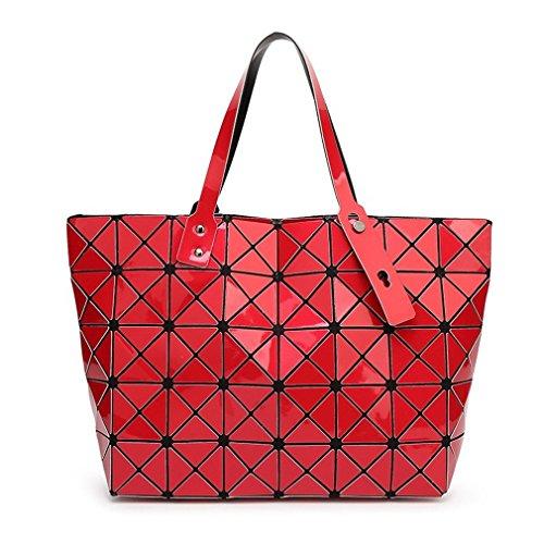 sac géométrie sac perle concepteur Haoling treillis diamant red bandoulière à fourre Femmes hologramme décontracté tout qzwCCHx85