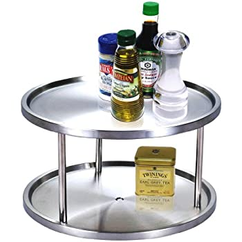 Amazing Cook N Home 10.5 Inch 2 Tier Lazy Susan Turntable Organizer, Stainless Steel