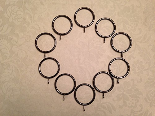 (CR4) 10 x Wrought Iron Curtain Rings 55mm OD x 45mm ID Black Nickel. Free Delivery. S G Curtain Poles