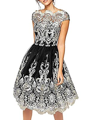Flapper Girl Women's Floral Embroidery Tulle Lace Cocktail Prom Party Midi Dress