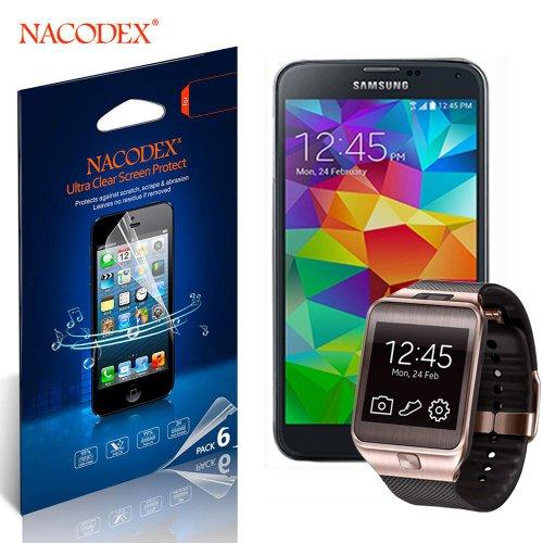 6pcs Nacodex® Hd Clear Anti-scratch Screen Protector Guard Film Shield for Samsung Galaxy S5 S V Sm-900 + Samsung Gear 2 Smartwatch (3n+3w=6)