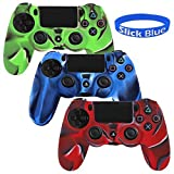 [3 Pack] PlayStation-4-Controller-Case SlickBlue Camo Series Silicone Protection Case Skin for Sony PS4 Controllers -3 Color (Blue/Green/Red)