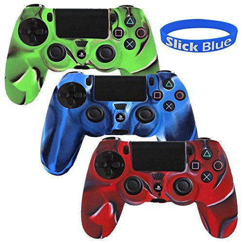 [3 Pack] PlayStation-4-Controller-Case SlickBlue Camo Series Silicone Protection Case Skin (Silicone Skin Shell)