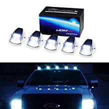 iJDMTOY 5pcs Classic Style Cab Roof Clearance Marker Running Lamps w/ White LED Light Bulbs For Truck SUV 4x4, Smoked Lens