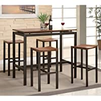 Coaster 5-Piece Counter Height Table and Chair Set, Multiple Colors, Espresso/Birch