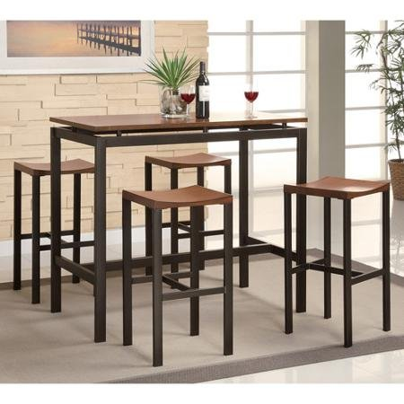 Saver Dinette Space Set (Coaster 5-Piece Counter Height Table and Chair Set, Multiple Colors, Espresso/Birch)