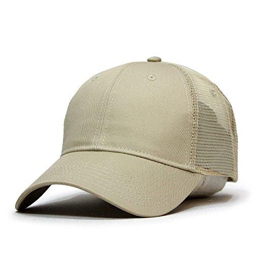Cotton Brushed Twill Sandwich (Vintage Year Brushed Denim Sandwich Visor Low Profile Mesh Snapback Baseball Cap (Khaki))