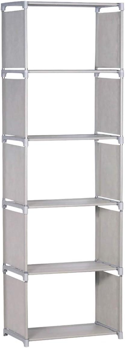 NiceAI Bookshelf 5 Shelves Modern Bookcase Metal Framework Color Box Lightweight Slim Children's Room Arrangement Office A4 File Books Toys Clothing Kitchen Storage Rack Gray