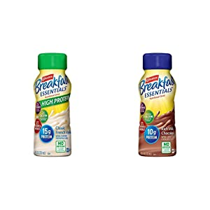 Carnation Breakfast Essentials High Protein Ready-to-Drink, Classic French Vanilla, 8 Ounce Bottle (Pack of 24) (Packaging May Vary) & Ready-to-Drink, Rich Milk Chocolate, 8 Ounce Bottle (Pack of 24)