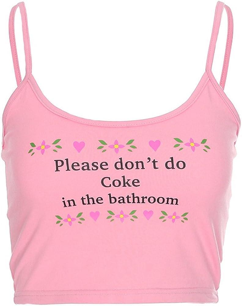 Mikilon Womens Sexy Spaghetti Strap Cami Vest Please Don T Do Coke In Bathroom Cute Crop Tank Tops At Amazon Women S Clothing Store