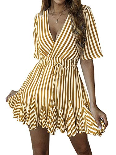 SHIBEVER Summer Sexy Mini Wrap Dresses for Women V Neck Beach Casual Striped Polka Dot Ruffle Hem Pleated Boho Sun Dress Brown L