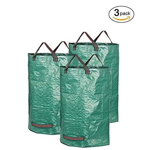 Garden Waste Bag, 3 Pack 32 Gallons Collapsible and Reusable Gardening Containers Garden Leaf Waste Bag for Lawn and Leaf by DOOLLAND