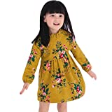 Thick Princess Dress,G-real Toddler Kids Little Girls Winter Spring Warm Cotton Lined Floral Long Sleeve Princess Party Dress for 2-6T (Yellow, 3T)