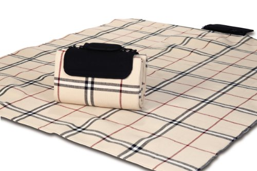 (Picnic Plus Mega Mat Waterproof Picnic/Stadium Blanket with Shoulder Strap, Beige Traditional Plaid )