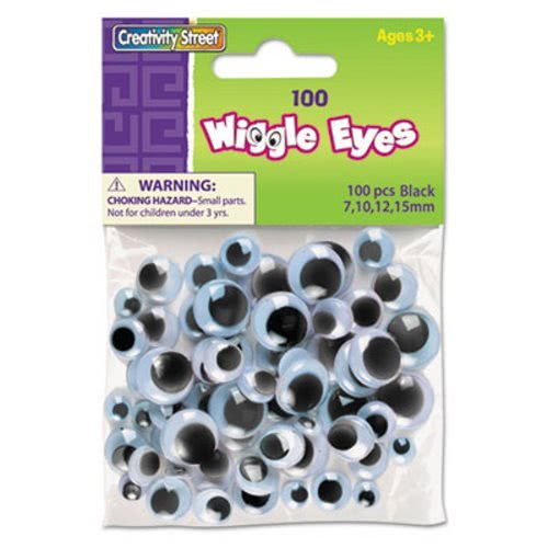 The Chenille Kraft Company Wiggle Eyes Assortment, Assorted Sizes, Black, 100/Pack (18 Pack) by Creativity Street