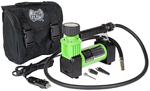 12 Volt Air Compressor, Portable Air Pump, 12v Tire Inflator, Air Compressor by MasterFlow for inflating full size car tires and sports balls.
