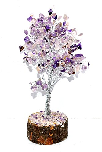 Kala Emporium Natural Geemstone Chip Tree Feng Shui Spiritual Tree Home Décor Table Décor MONEY TREE of Life Wrapped Wire Tree I Size - 8inche I Stone - Amethyst