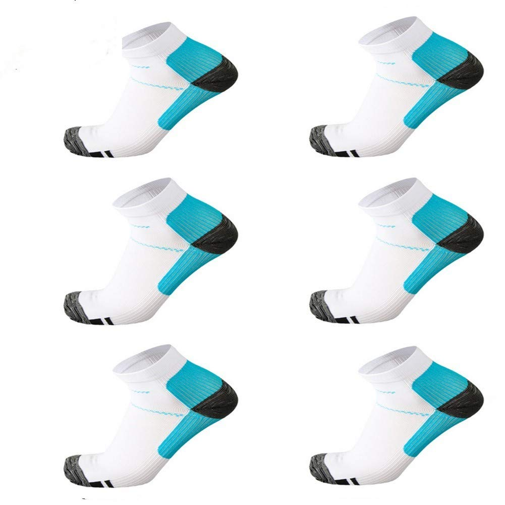 6 Pairs Medical&Althetic Compression Socks for Men Women, 15-20 mmHg Nursing Plantar Fasciitis Arch Support,Compression Ankle Socks for Running Marathon Travel Flight (6Pair White Blue)