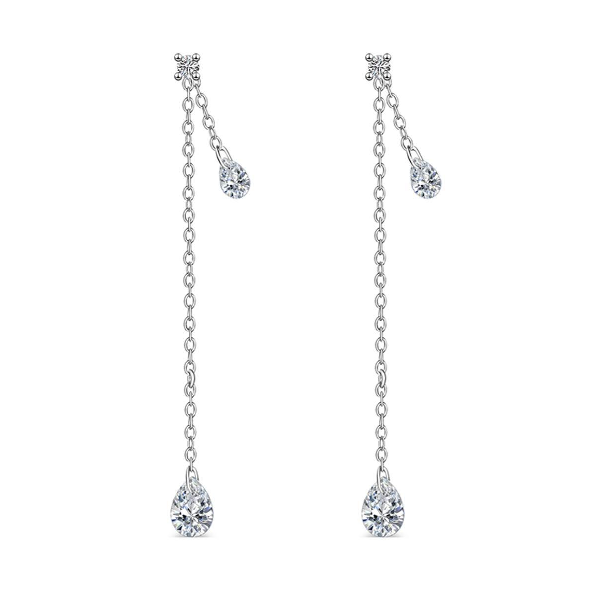 d85aa49f3 Amazon.com: FarryDream 925 Sterling Silver CZ Droplet Dangle Earrings Chain for  Women Threader Earrings Tassel: Jewelry
