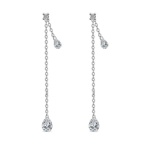 c32f465d1 FarryDream 925 Sterling Silver CZ Droplet Dangle Earrings Chain for Women  Threader Earrings Tassel