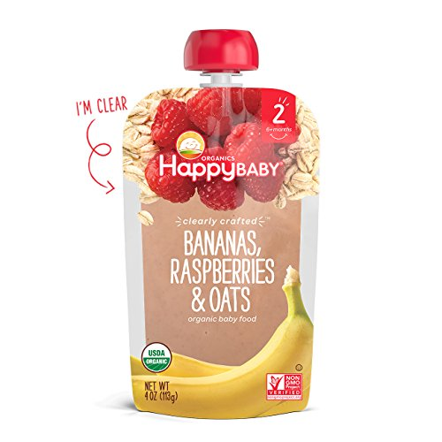 Happy Baby Clearly Crafted Organic Baby Food Stage 2, Bananas Raspberries & Oats, 4 Ounce, 16 Count by Happy Baby (Image #3)