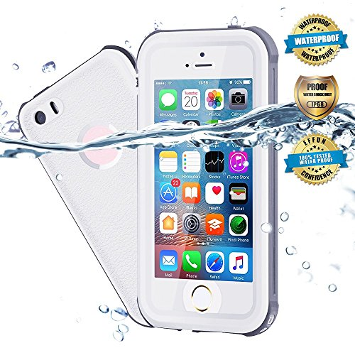 Price comparison product image Waterproof iPhone 5/5S/SE Case, EFFUN IP68 Certified Waterproof Underwater Cover Dustproof Snowproof Shockproof Case with Cell Phone Holder, PH Test Paper, Stylus Pen and Floating Strap White