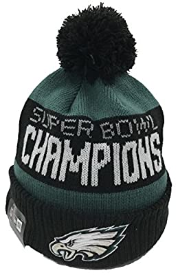100% Authentic, NWT, Philadelphia Eagles 2018 Super Bowl LII Champions Green/Black Cuffed Pom Knit Hat