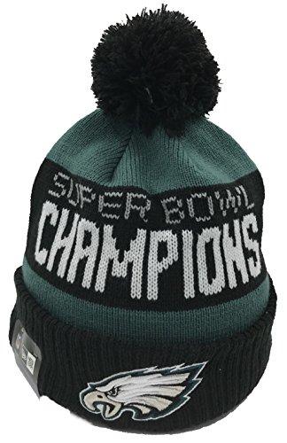 Knit Cuffed Green Hat (100% Authentic, NWT, Philadelphia Eagles 2018 Super Bowl LII Champions Green/Black Cuffed Pom Knit Hat)