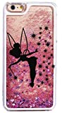 iPhone 6 / 6s , Bling Glitter Hard Case Bumper Clear Cover - Black Fairy Angel in Pink Gold