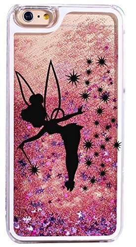 (iPhone 6 / 6s , Bling Glitter Hard Case Bumper Clear Cover - Black Fairy Angel in Pink Gold)