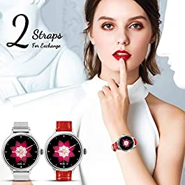 AMATAGE Smart Watch for Women for iPhone Android Phones, Fitness Activity Tracker Watch with Heart Rate, Sleep Monitor, Blood Pressure Monitor, Full Touch Screen, Extra Leather Band(Silver/Extra Band)