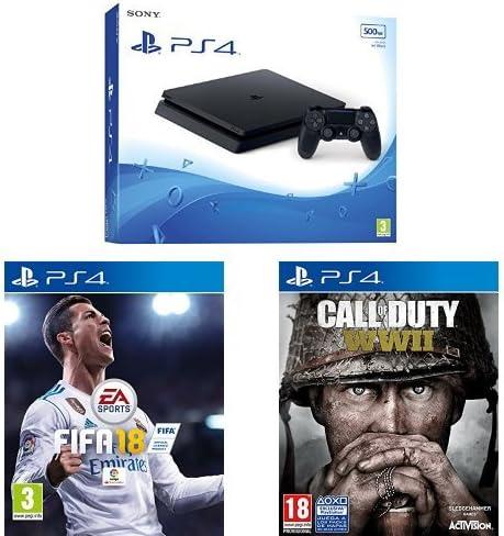 PlayStation 4 Slim (PS4) - Consola de 500 GB + FIFA 18 - Edición estándar + Call Of Duty WWII: Amazon.es: Videojuegos