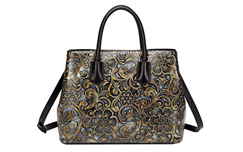 Jair Metallic Retro Floral Embossed Genuine Leather Crossbody Tote Bags Handbags for Women by Jair