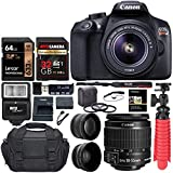 Canon EOS Rebel T6 Digital SLR Camera Kit with EF-S 18-55mm f/3.5 Lens, Lexar 64GB and Ritz Gear U3 32GB Memory Cards, Lens Filters, Camera Bag, Flexi-Tripod, and Accessory Bundle: more info