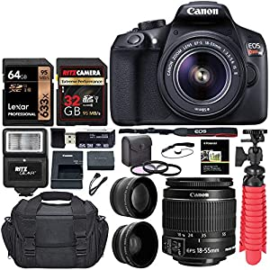 Canon EOS Rebel T6 Digital SLR Camera Kit with EF-S 18-55mm f/3.5 Lens, Lexar 64GB and Ritz Gear U3 32GB Memory Cards, Lens Filters, Camera Bag, Flexi-Tripod, and Accessory Bundle