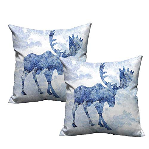 Iridescent cloud Creative Pillowcase Moose Blue Pattern Pine Needles Spruce Tree with Antlers Deer Family Snow Winter Horns Protect The Waist W17 x L17 Blue White ()