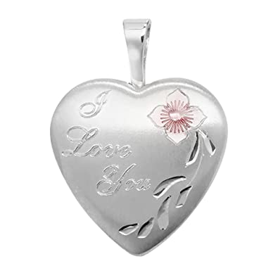 Sterling Silver I Love You Engraved 2 Photo Flower Heart Shaped Locket 15x15mm N0Dr8tAK