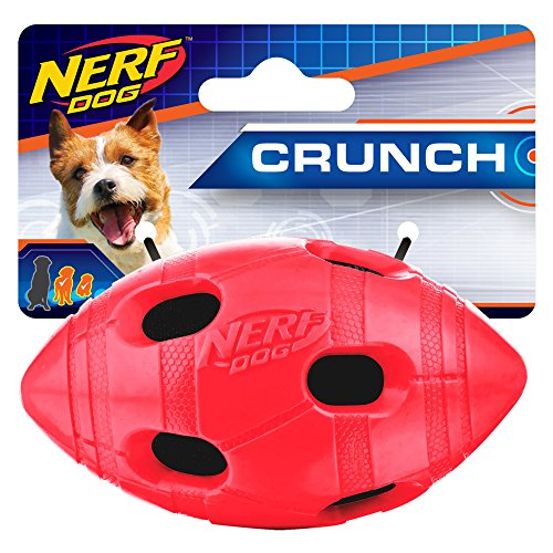 Nerf Dog Small to Medium TPR Red Crunch & Squeak Bash Footba