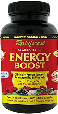 Rainforest - Energy Boost - with Sensoril Ashwagandha & Rhodiola for Effective Energy, Sleep and Stress Suport - 60 Vegetable - Adrenal Boost