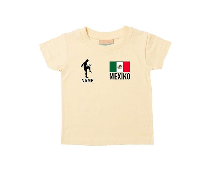 Shirtstown Kids Camiseta Camiseta de Fútbol México con Su Nombre Deseado Estampado - Amarillo Claro,