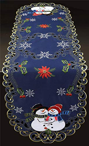 "Creative Linens Holiday Christmas Table Runner Embroidered Snowman Snowflake Poinsettia Oval Dresser Scarf Blue Gold (15x52"" Blue)"