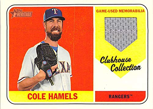 2018 Topps Heritage Baseball Clubhouse Collection Relics #CCR-CH Cole Hamels MEM Texas Rangers Official MLB Trading Card from Heritage Baseball